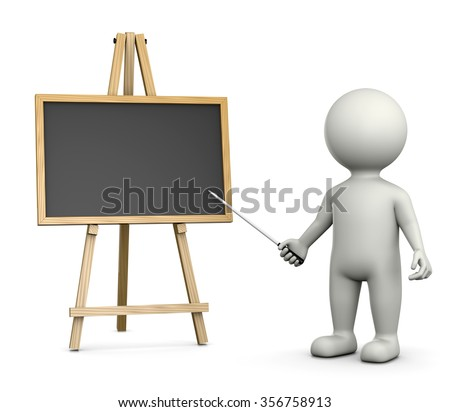 3D White Character Teacher with an Horizontal Empty Blackboard Isolated on White Background 3D Illustration - stock photo