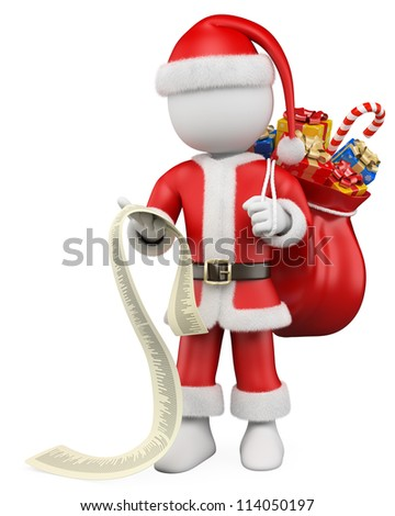 3d white christmas person. Santa Claus reading a long list of gifts with a sack of gifts. 3d image. Isolated white background. - stock photo