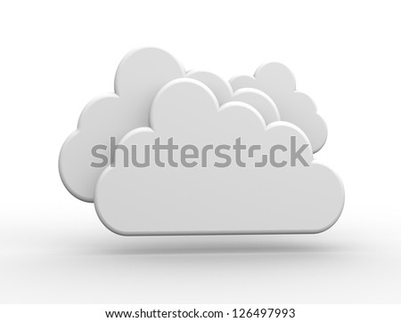 3D white cloud. 3d render - stock photo
