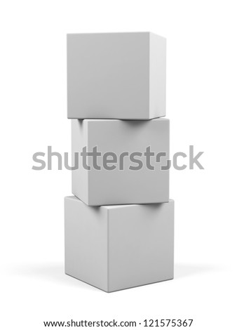 3d white cubes isolated. - stock photo
