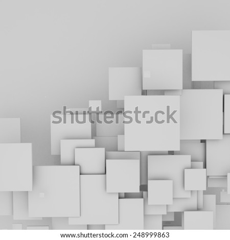 3D white floating squares background. - stock photo