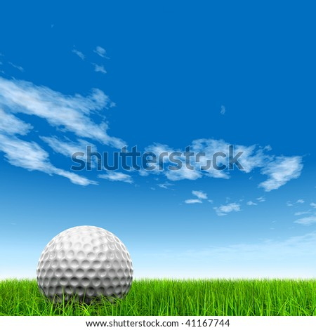 3d white golf ball in green grass on a blue sky with clouds background - stock photo