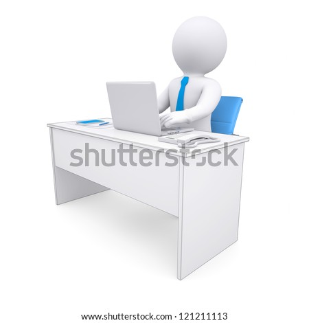 3d white human sitting at a table. Working at a laptop. Isolated render on a white background - stock photo