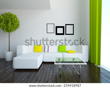 3d white interior of a flat - stock photo