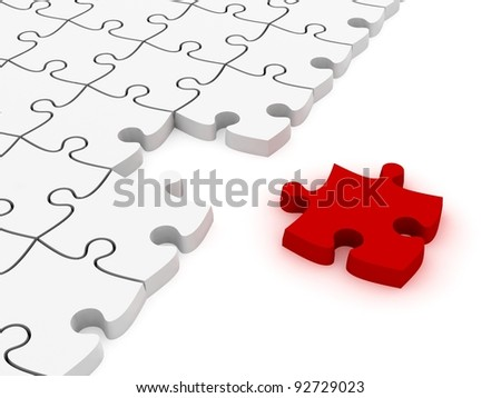 3D white jigsaw puzzles without one piece - stock photo