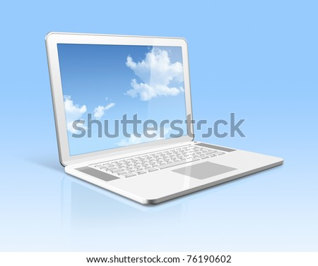 3D white laptop computer with sky in screen isolated on blue with 2 clipping path : one for global scene and one for the screen - stock photo