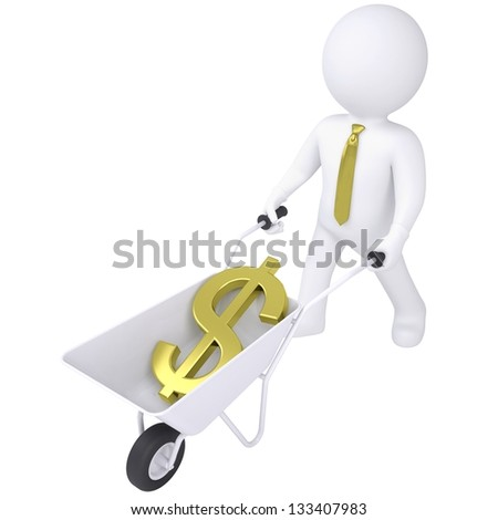 3d white man carries a wheelbarrow with the euro. Isolated render on a white background - stock photo