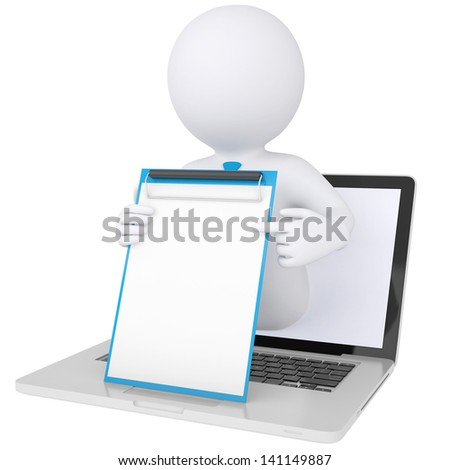 3d white man from the computer holding checklist in hand. Isolated render on a white background - stock photo
