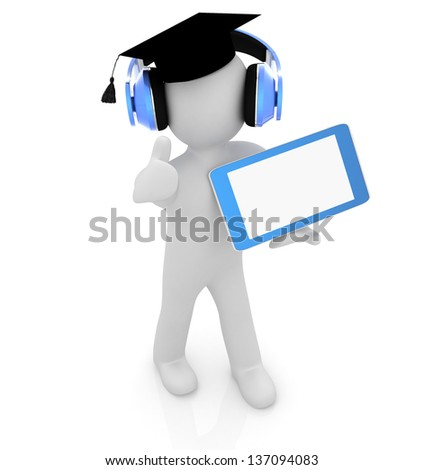 3d white man in a grad hat with thumb up, headphone and tablet pc - best gift a student - stock photo