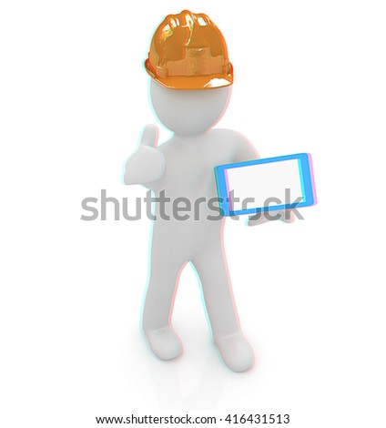 3d white man in a hard hat with thumb up and tablet pc on a white background. 3D illustration. Anaglyph. View with red/cyan glasses to see in 3D. - stock photo