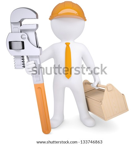 3d white man in a helmet with a pipe wrench and tool box. Isolated render on a white background - stock photo