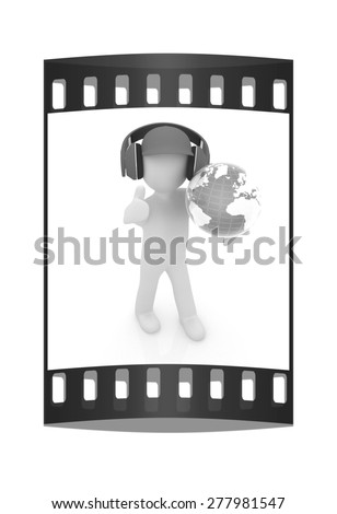 3d white man in a red peaked cap with thumb up, tablet pc and headphones. Global concept with blue earth. The film strip - stock photo