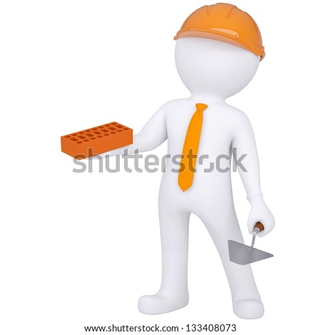3d white man in helmet holding brick and trowel. Isolated render on a white background - stock photo