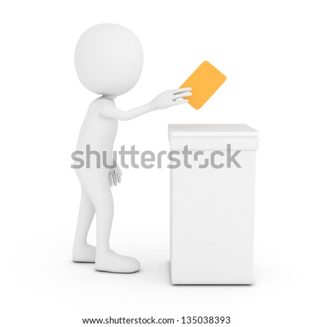 3D White Man putting a voting ballot into the box isolated - stock photo