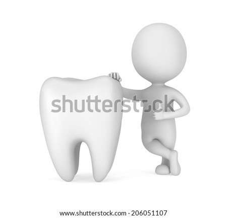 3d white man stand near tooth with thumbs up. Render isolated on white. Medical, dental concept. - stock photo