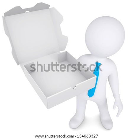 3d white man with an open box of a pizza. Isolated render on a white background - stock photo