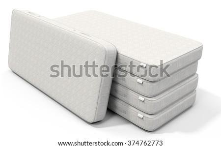3d white mattress stack on white background - stock photo