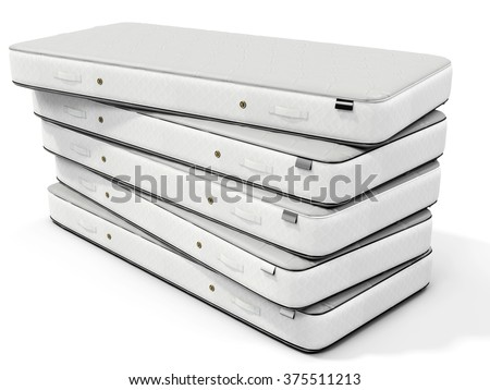 3d white mattress stack on white background - stock photo