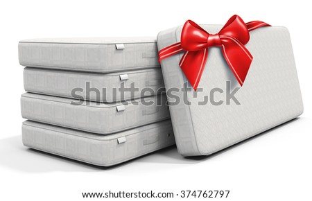 3d white mattress stack  with red bow on white background - stock photo