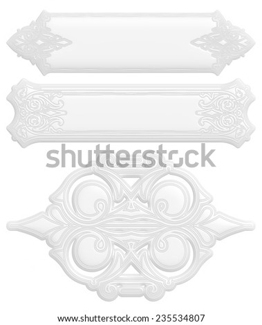 3d white pattern in floral style on isolated white. - stock photo