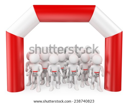 3d white people. A lot of runners at the start of a Marathon. Isolated white background. - stock photo