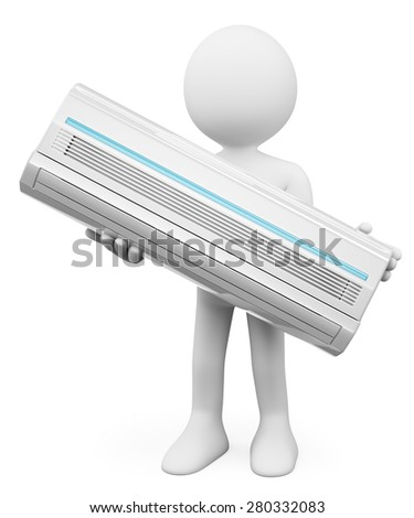 3d white people. Air Conditioner. Isolated white background.  - stock photo