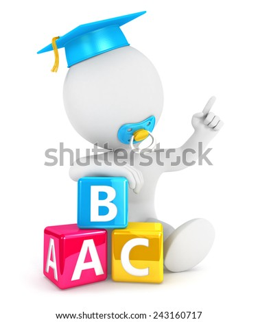 3d white people baby abc blocks, isolated white background, 3d image - stock photo