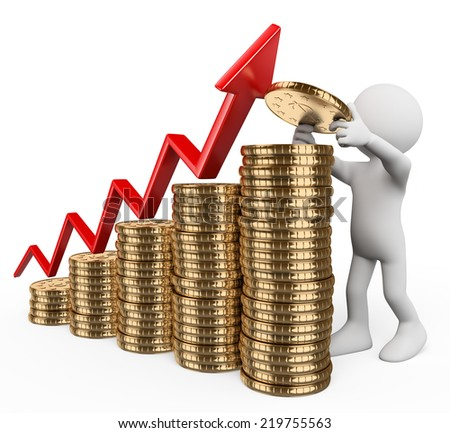 3d white people. Bar graph made �¢??�¢??with coins. Concept of capital growth. Isolated white background. - stock photo
