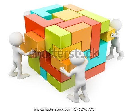 3d white people. Building and creating concept. Isolated white background.  - stock photo