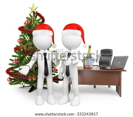 3d white people. Business people making a toast at the office for the new year. Isolated white background. - stock photo