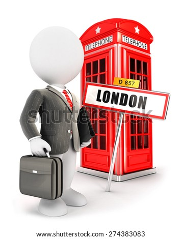 3d white people businessman in London, isolated white background, 3d image - stock photo