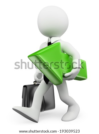 3d white people. Businessman walking with a green arrow. Isolated white background.  - stock photo