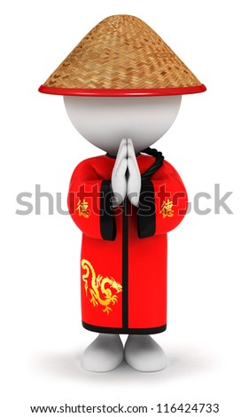 3d white people chinese greetings, isolated white background, 3d image - stock photo