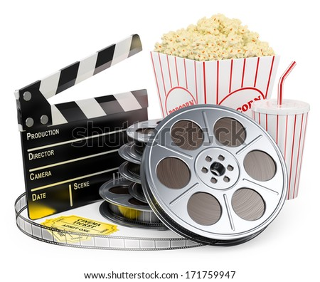 3d white people. Cinema clapper film reel drink popcorn and tickets. Isolated white background.  - stock photo