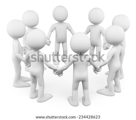 3d white people. Circle of people holding hands together. Isolated white background. - stock photo