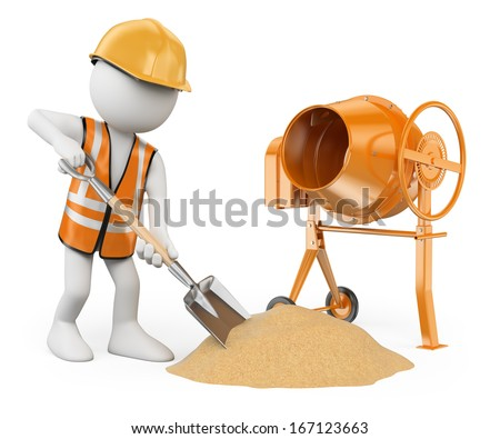3d white people. Construction worker with a shovel and a concrete mixer making cement . Isolated white background.  - stock photo