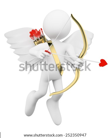 3d white people. Cupid shooting arrows of love. Isolated white background. - stock photo