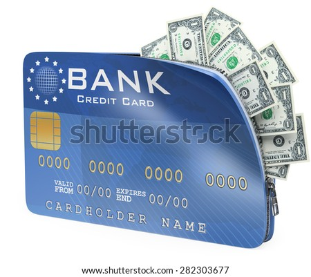 3d white people. 3D Credit card full of dollar bill. Isolated white background.  - stock photo