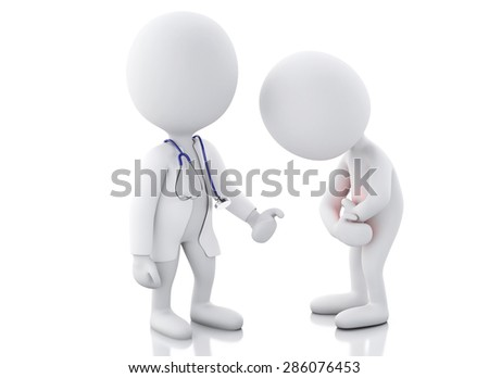3d white people doctor with stethoscope checking people with stomach ache in red zone. Isolated white background - stock photo