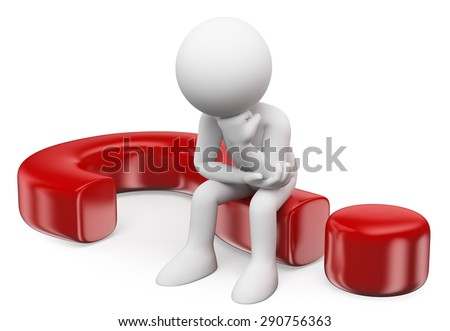 3d white people. Doubting man sitting in a question mark. Isolated white background. - stock photo