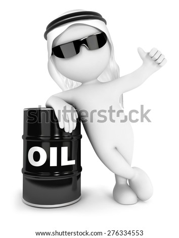 3d white people emir with a barrel of oil, isolated white background, 3d image - stock photo