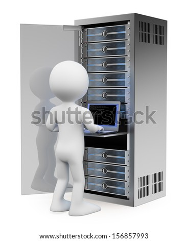 3d white people. Engineer in rack network server room working with a laptop. Isolated white background.  - stock photo