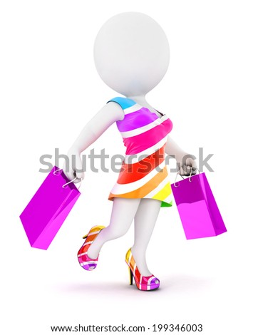 3d white people fashion woman with shopping bags, isolated white background, 3d image - stock photo