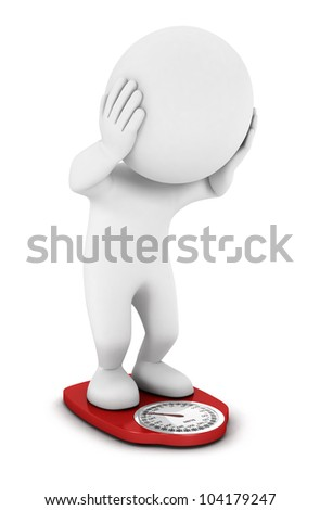 3d white people gained a lot of weight on bathroom scales, isolated white background, 3d image - stock photo