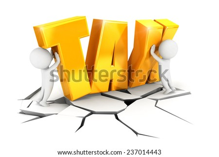 3d white people heavy tax, isolated white background, 3d image - stock photo