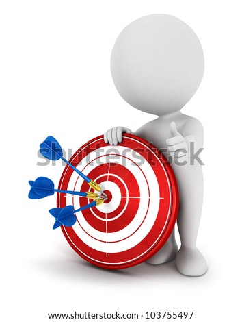 3d white people hit the red target with blue darts, isolated white background, 3d image - stock photo