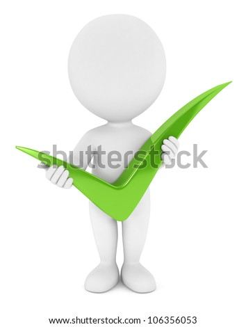 3d white people holding a positive green check mark, isolated white background, 3d image - stock photo