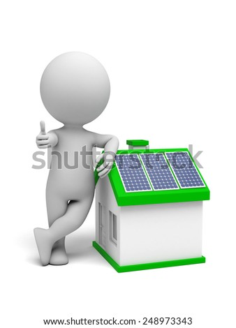 3d white people. House with solar panel. 3d image. Isolated white background. - stock photo
