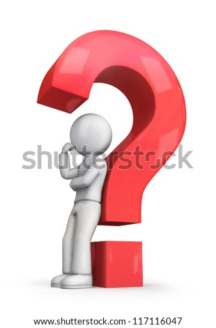 3d white people leaning back against a red question mark, isolated white background, 3d image - stock photo