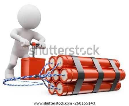 3d white people. Man exploding a bomb with a detonator. TNT. Isolated white background. - stock photo